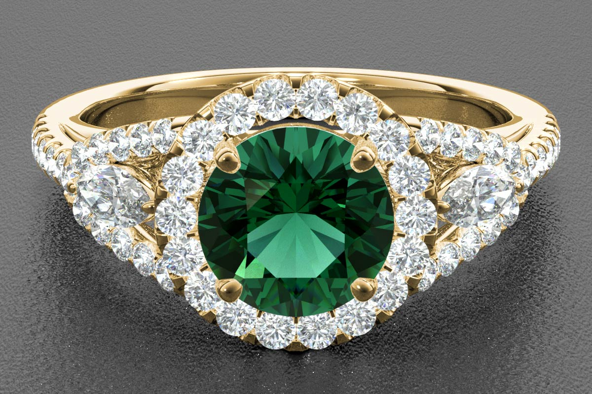 emerald render yellow gold
