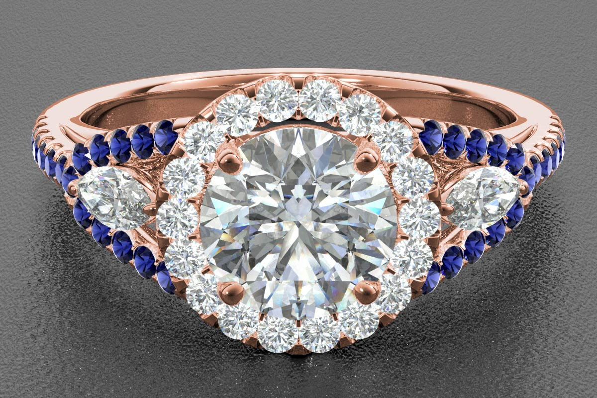 sapphire render rose gold