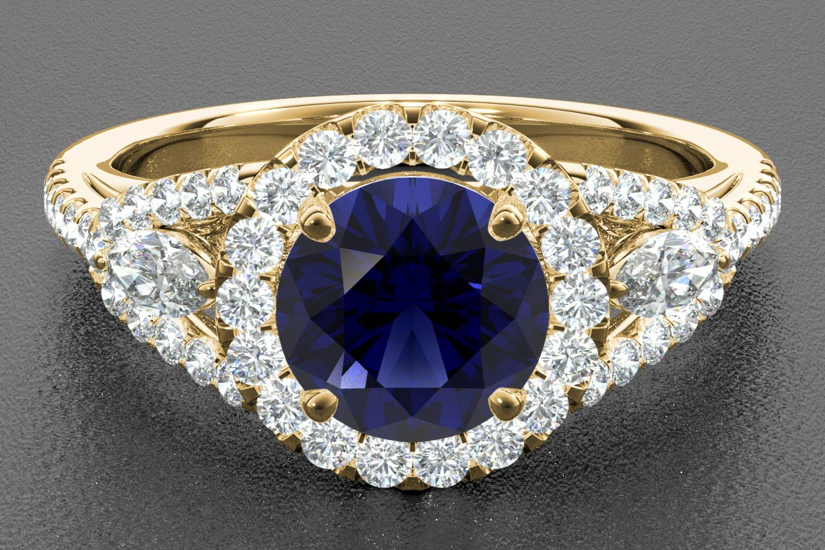 sapphire render yellow gold